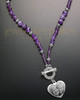 Iris Purple Bead Necklace and Heart Engraving Pendant