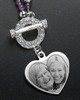 Iris Purple Bead Necklace and Heart Engraving Pendant