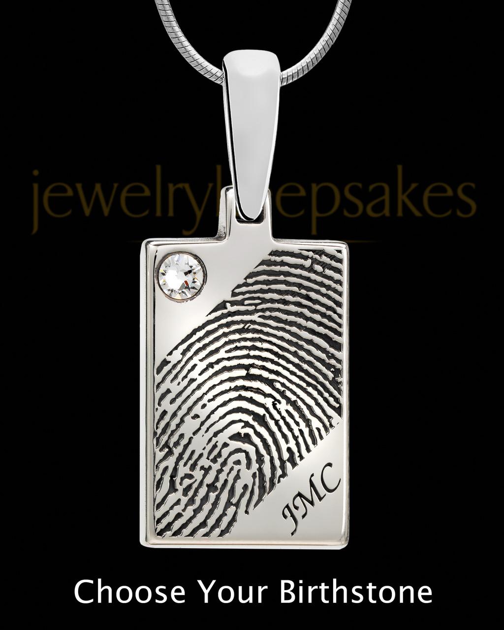 Silver Birthstone Rectangle Fingerprint Pendant