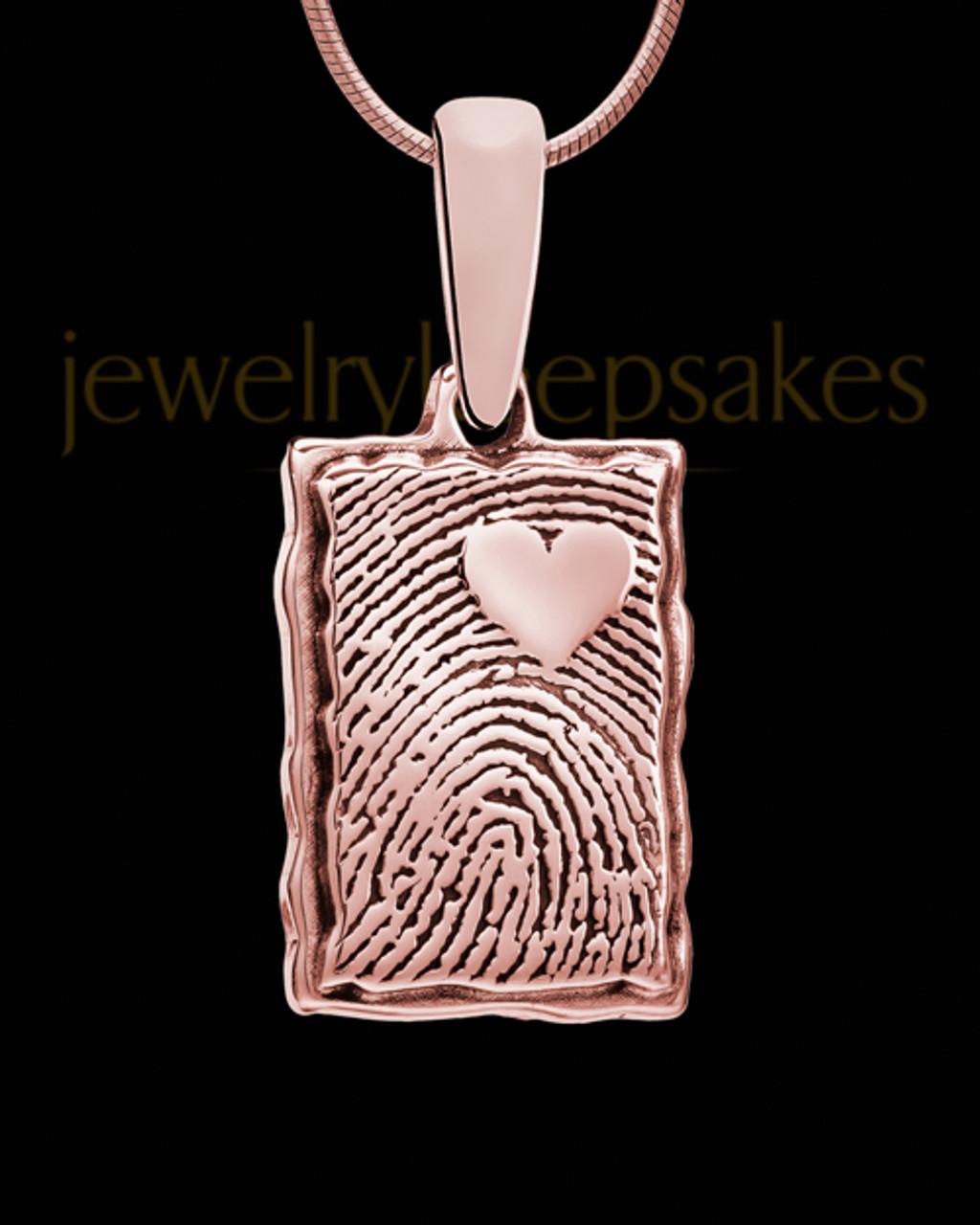 3d115980accbc My Love Rose Gold Plated Rectangle Fingerprint Pendant