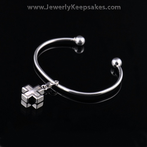 Remembrance Jewelry Bracelet Sterling Silver Pearled Cross