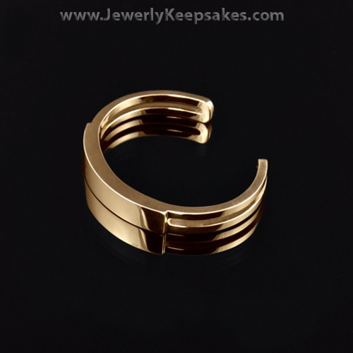 Men's Remembrance Bracelet Stainless Gold Plated Sliding Cuff