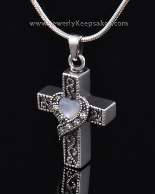 Urn Locket Sterling Silver Embraced Cross Keepsake