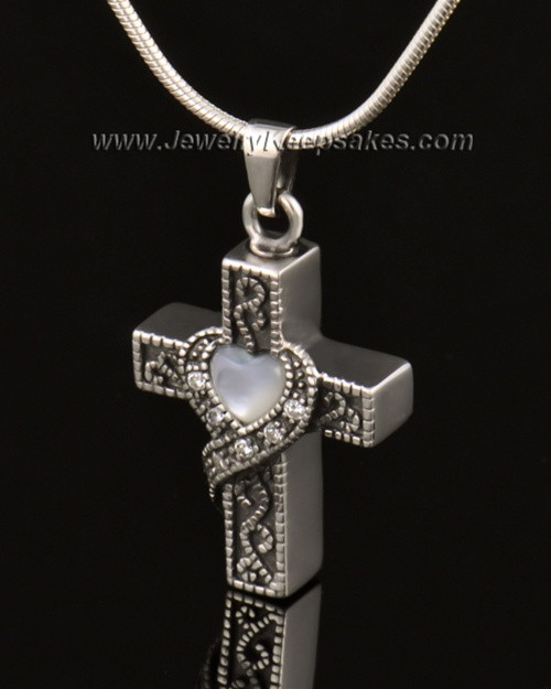 Urn Locket 14k White Gold Embraced Cross Keepsake