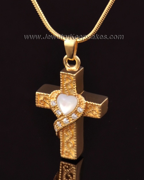 Urn Locket 14k Gold Embraced Cross Keepsake