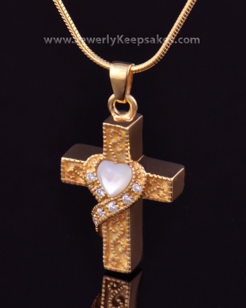 Urn Locket Gold Plated Embraced Cross Keepsake