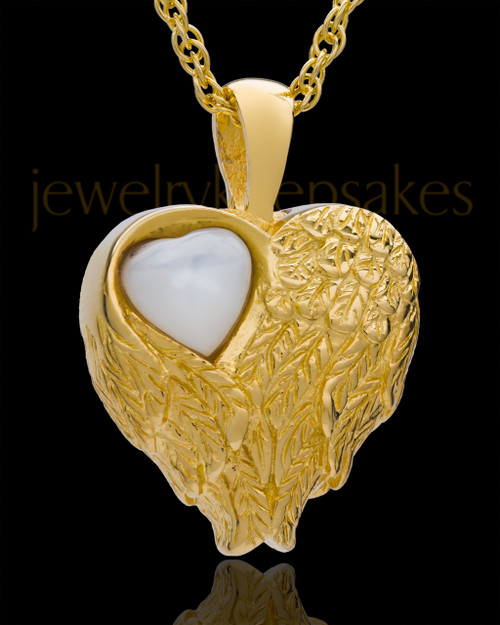 Cremation Jewelry Gold Plated Forever Loved Heart Keepsake
