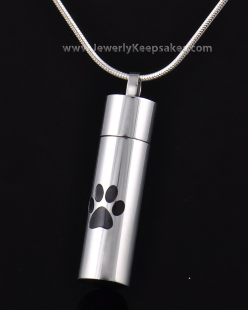 Pet Cremation Charm Stainless Silver Pawed Love Keepsake