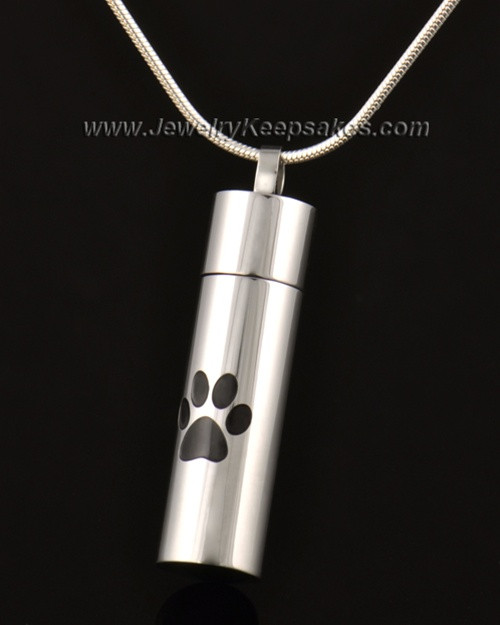 Pet Cremation Charm 14k White Gold Pawed Love Keepsake