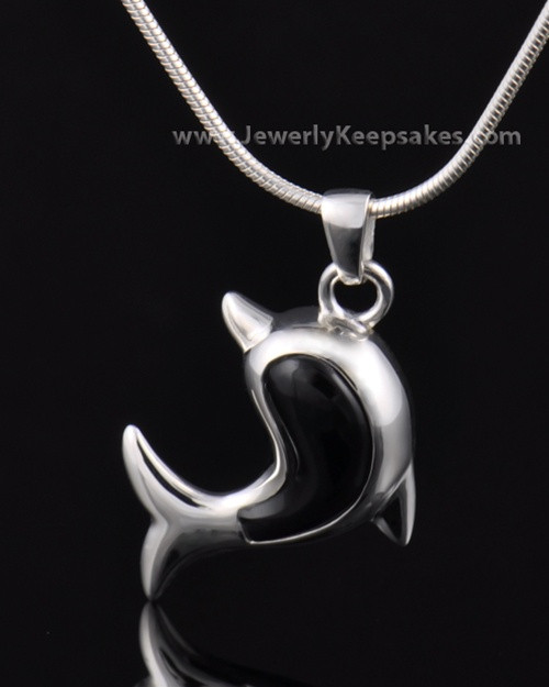 Jewelry Urn Sterling Silver Black Dolphin Keepsake