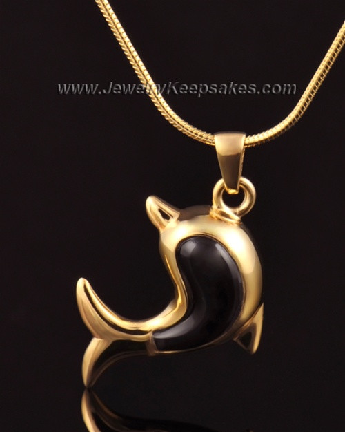 Jewelry Urn 14k Gold Black Dolphin Keepsake