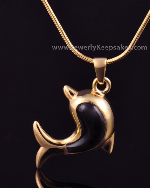 Jewelry Urn Gold Plated Black Dolphin Keepsake