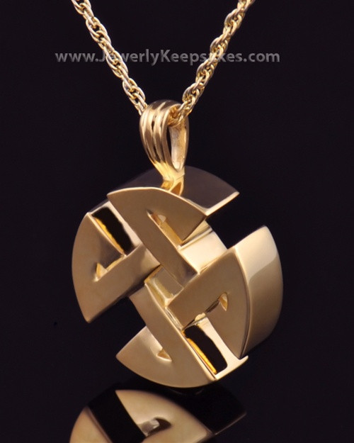 Cremation Pendant Gold Plated Celtic Round Keepsake