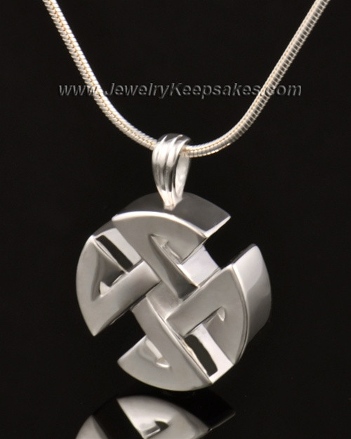 Cremation Pendant 14k White Gold Celtic Round Keepsake