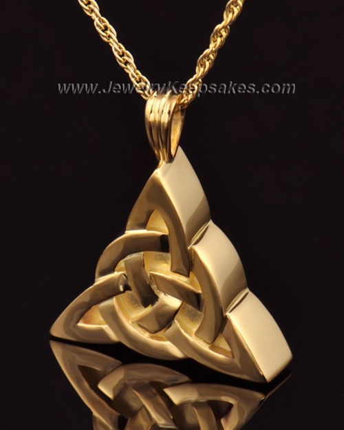Remembrance Pendant 14k Gold Celtic Triangle Keepsake