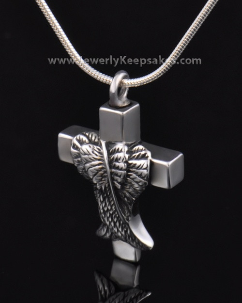 Memorial Pendant Sterling Silver Angels Cross Keepsake
