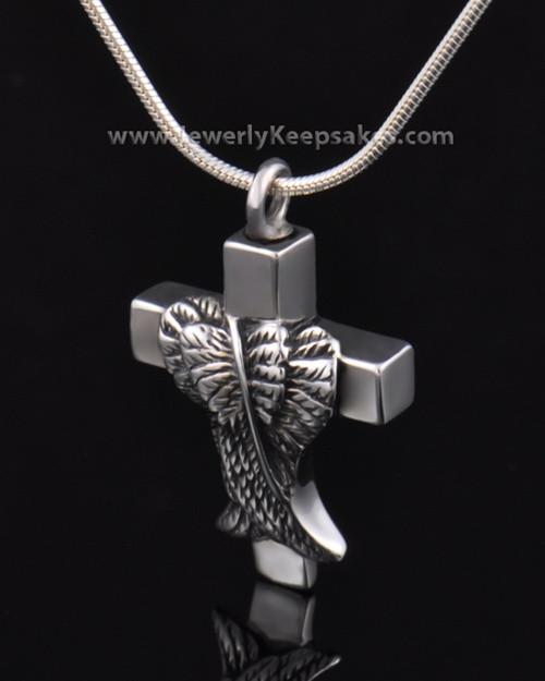 Memorial Pendant Sterling Silver Angels Cross Keepsake