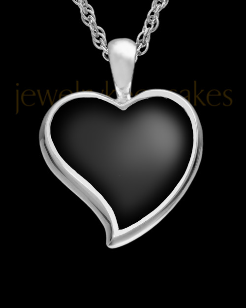 Ash Keepsake 14k White Gold Ebony Heart Keepsake