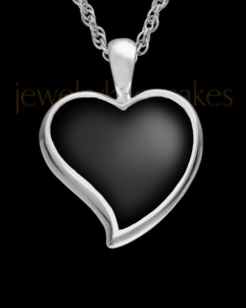 Ash Keepsake 14k White Gold Ebony Heart Keepsake