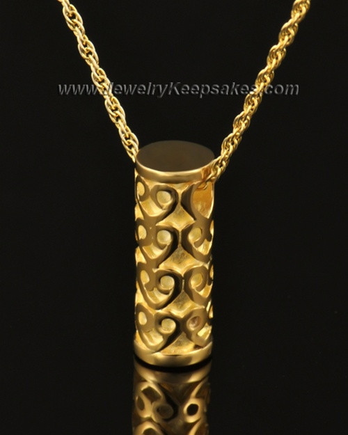 Ash Pendant 14k Gold Cylinder of Hearts Keepsake