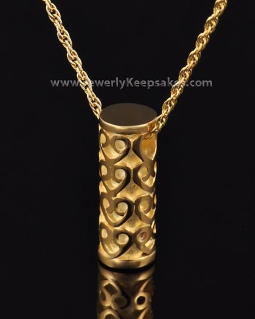 Ash Pendant Gold Plated Cylinder of Hearts Keepsake