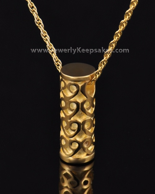Ash Pendant Gold Plated Cylinder of Hearts Keepsake