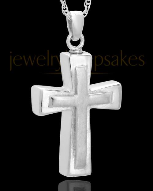 Urn Jewelry Sterling Silver Two Cross Keepsake