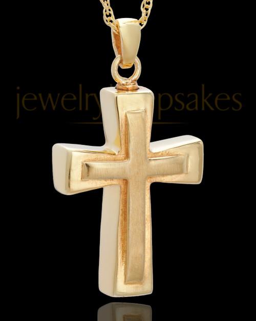 Urn Jewelry Gold Plated Two Cross Keepsake