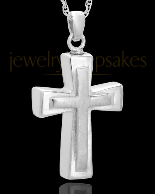 Urn Jewelry 14k White Gold Two Cross Keepsake