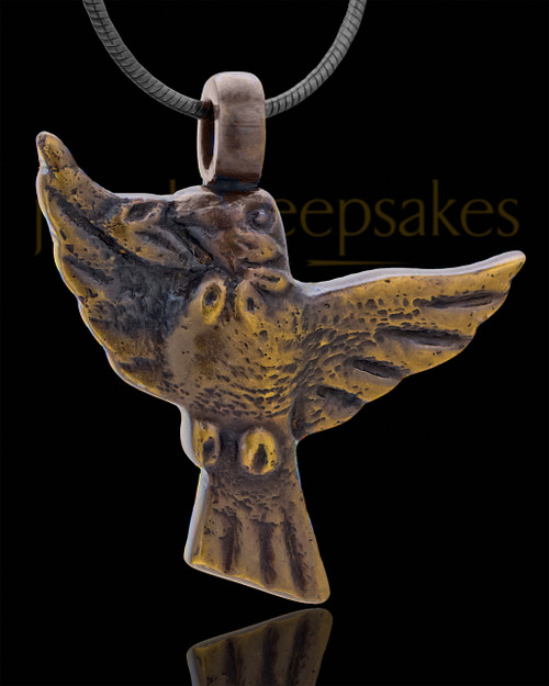 Ash Pendant Brass Bird of Night Keepsake