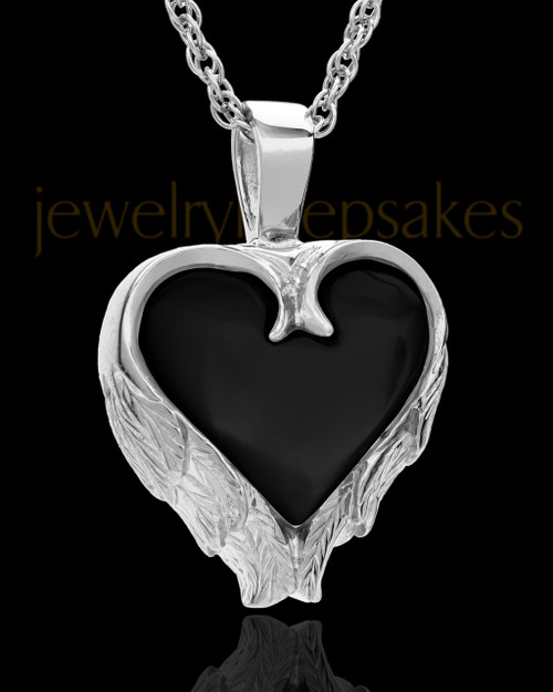 Remembrance Pendant Sterling Silver Onyx Winged Heart Keepsake