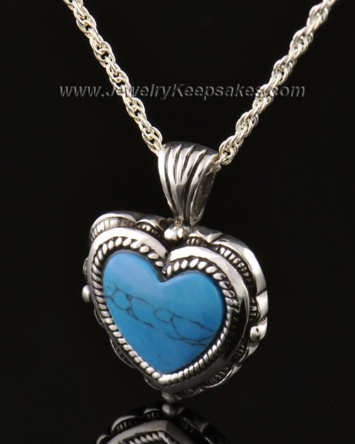 Cremation Heart 14k White Gold Turquoise Pendant
