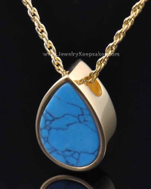Cremation Teardrop Gold Plated Turquoise Pendant