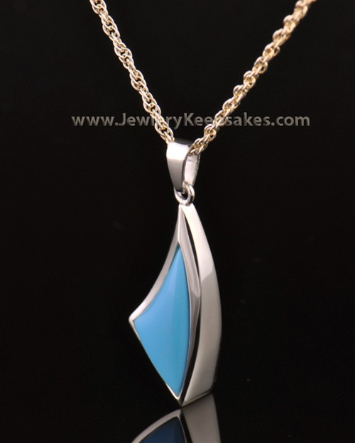 14k White Gold Turquoise Sail Away Keepsake