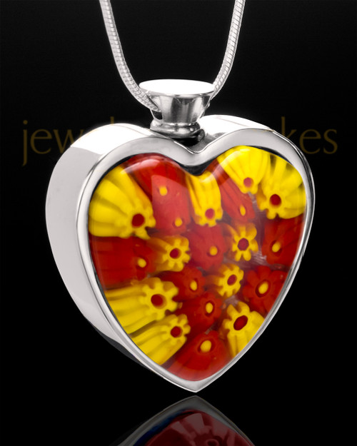 Stainless Sunkissed Morning Glory Heart Keepsake Jewelry
