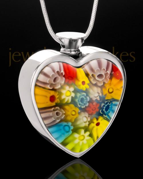 Stainless Rainbow Mist Heart Keepsake Jewelry