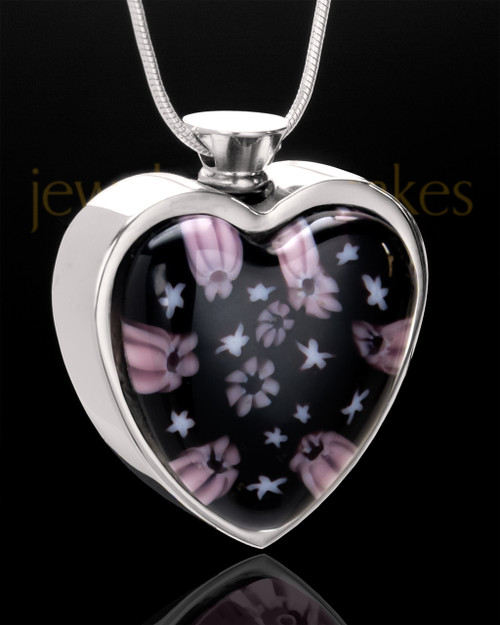 Stainless Steel Lavender Lights Heart Jewelry Urn