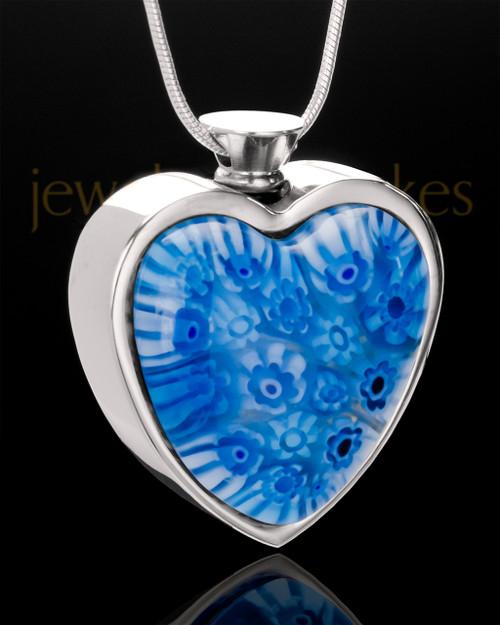 Stainless Steel Cobalt Skies Heart Keepsake Jewelry