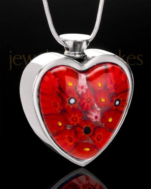 Stainless Steel Eternal Fire Heart Keepsake Jewelry