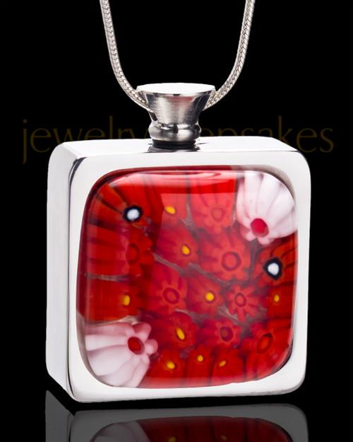 Stainless Steel Scarlet Blooms Keepsake Pendant