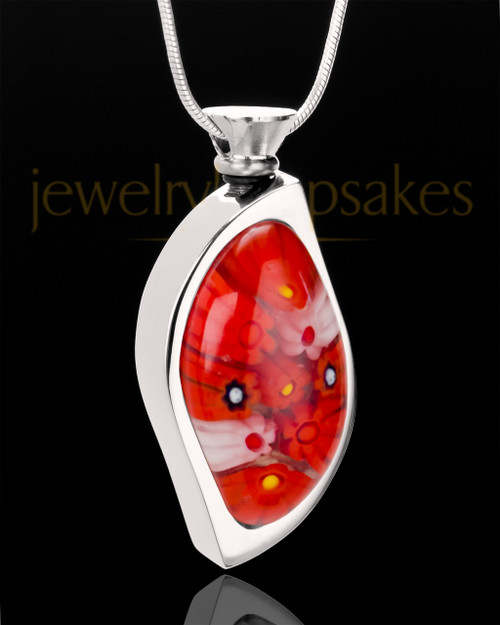 Stainless Steel Crimson Leaves Keepsake Pendant