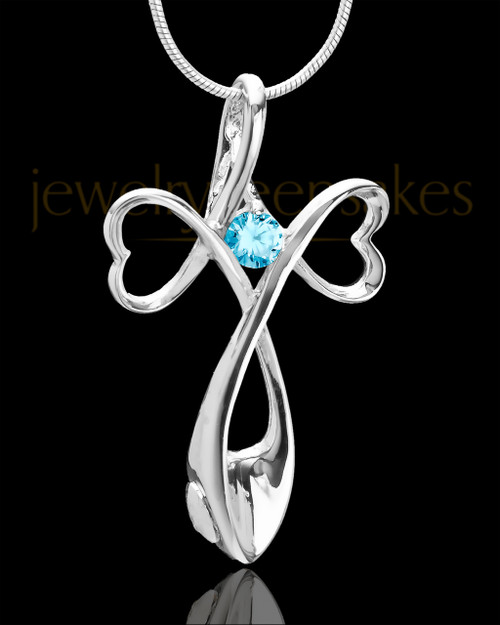Sterling Silver Blue Forever in My Heart Cremation Urn Pendant