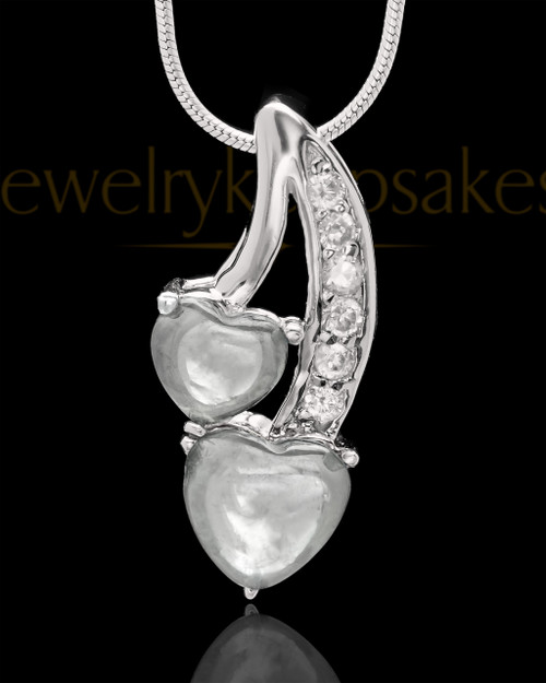 Sterling Silver Clear Treasures of the Heart Cremation Urn Pendant