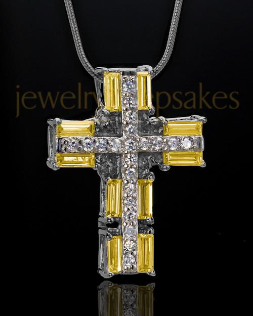 Black Plated Sunburst Cross Cremation Urn Pendant