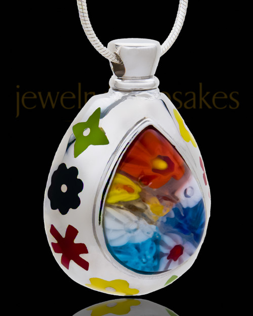 Silver Plated Dazzler Cremation Urn Pendant