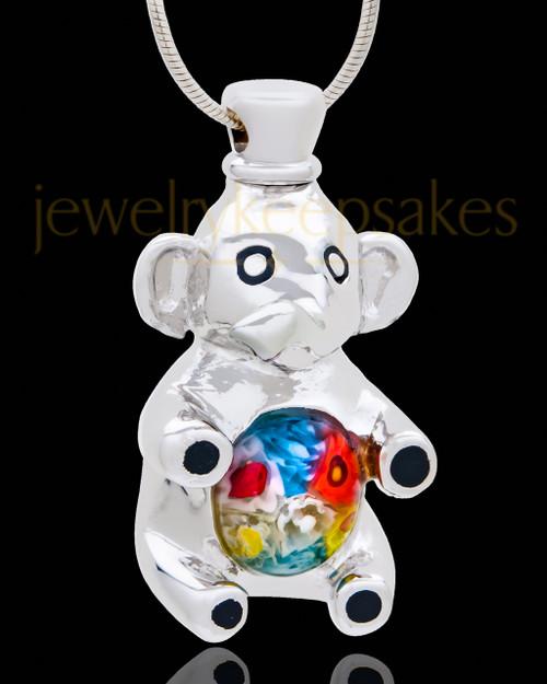 Silver Plated Exuberant Elephant Cremation Urn Pendant