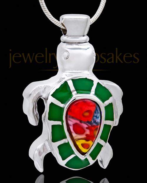 Silver Plated Dark Green Fiesta Turtle Cremation Urn Pendant