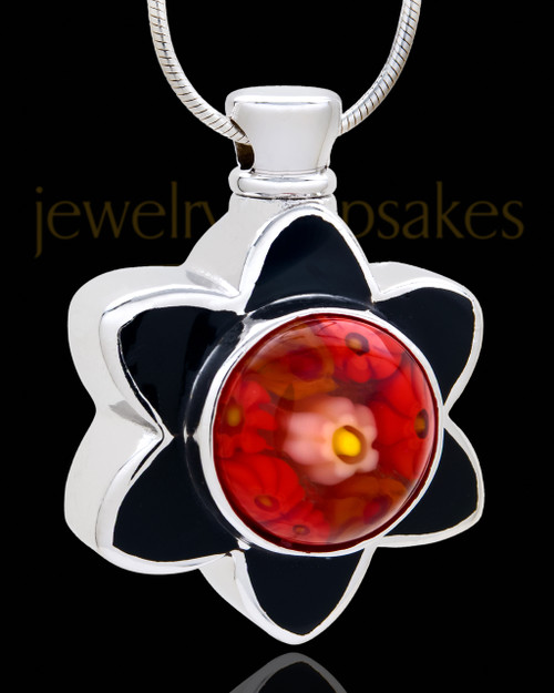 Silver Plated Sassy Flower Cremation Urn Pendant