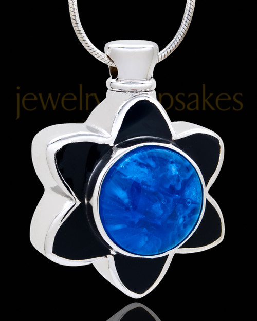 Silver Plated Blue Sassy Flower Cremation Urn Pendant