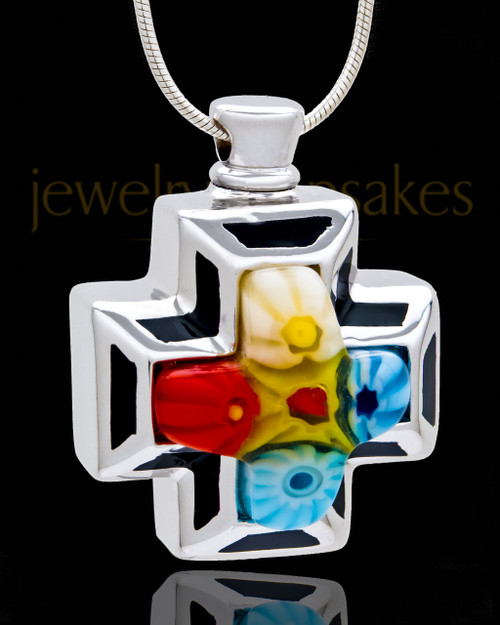 Silver Plated Thoughtful Cross in White Cremation Urn Pendant